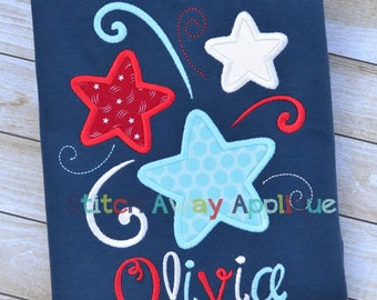 Swirly Stars Patriotic 4th of July Machine Applique Design