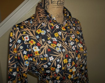 Vintage 1970's Floral Button Down, Nylon Blouse by Brookvalley by Fairfield