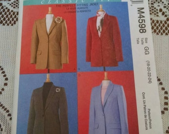 Uncut McCall's m4598 classic fit jacket sewing pattern Palmer Pletsch sizes 18 20 22 24