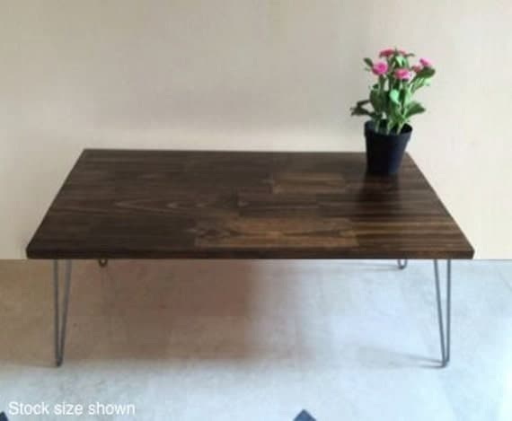 36x16 Very Small Wood Coffee Table Compact Size For Small Living Spaces And Apartments Stock