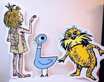 Storybook characters, Cut Out, photo props, standee, Paper Bag Princess, Lorax , wall art