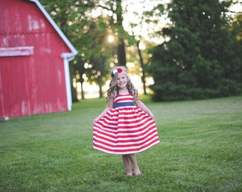 4th of July  Dress - stars and stripes -Girls - Patriotic - Red, White & Blue - Party - 4th of July - Celebratio