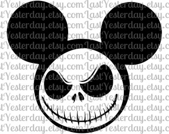 Jack Skellington Mickey Head DIGITAL DOWNLOAD svg jpg png