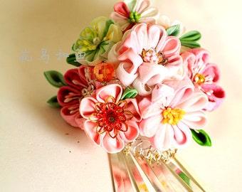 Kanzashi Hair Pin,Wedding Hair Flower Pin,  -Pink-Bridal Hair Pins -  Flower accessories- Floral hair pins-Pink Floral Pin-Woodland Wedding
