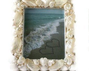 Pearl and White Shell Frame  -Pearlized Seashell Picture Frame