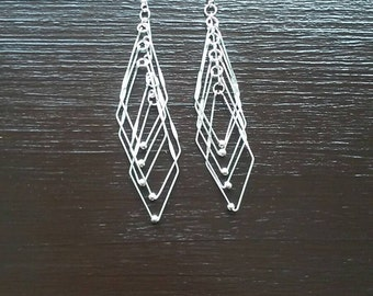 Long Silver Earrings/ Ribbed Long Silver Earrings/ Lightweight Long Earrings/ Silver Lightweight Long Earrings/ Silver Lightweight Earrings