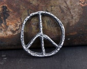 Peace Sign Pendant - Handmade Artisan Jewelry Supply No. 123-PD