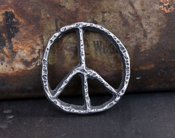 Peace Sign Pendant - Handmade Artisan Jewelry Supply No. 120P