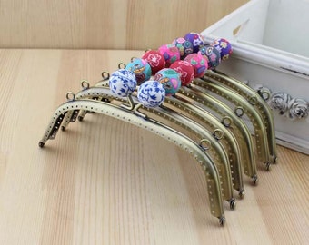 1 PCS, 16cm / 6.4 inch, Colorful Patterned Beaded Curved Bronze Kiss Clasp Lock Purse Frame, C55