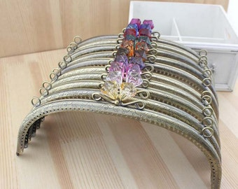1 PCS, 24cm / 9.4 Inch Curved Rounded Purse Frame Kisslock Closure with Transparent Beaded, K290