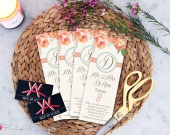 Custom Printable Wedding Place Cards/Table Cards /// Floral Design \\\ Custom Digital File