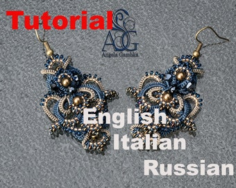 """pattern, diagramm, tutorial, Master Class for the earrins """"Jeans Collection"""""""