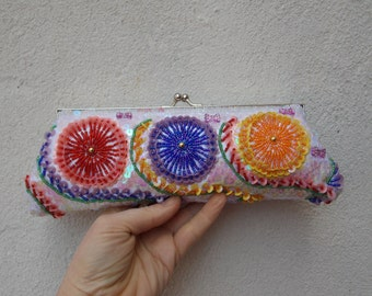Beaded White Multicolor Handbag Clutch Purse, Optional Top Handle & Shoulder Chain