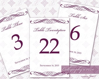 DIY Printable Wedding Table Number Template | Printable Table Setting Décor | Calligraphy in Plum