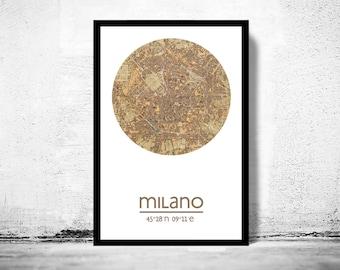 MILAN - city poster - city map poster print