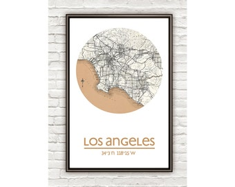 LOS ANGELES - city poster - city map poster print