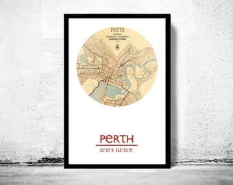 PERTH - city poster - city map poster print