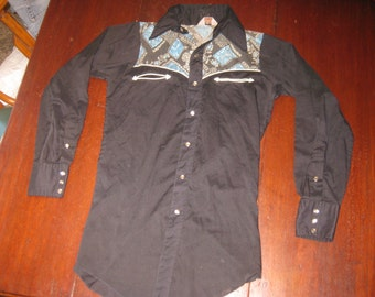 Vintage H Bar C Black Mens Western Cowboy Shirt Size 38