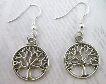 Tree of Life Earrings ~ Antiqued Silver Tone