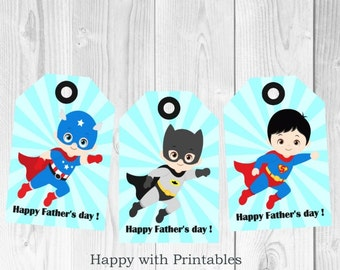 Father's day gift tag - Father's day - Instant Download - Favor Tags - Happy Father's day Tag - Superhero Father's day