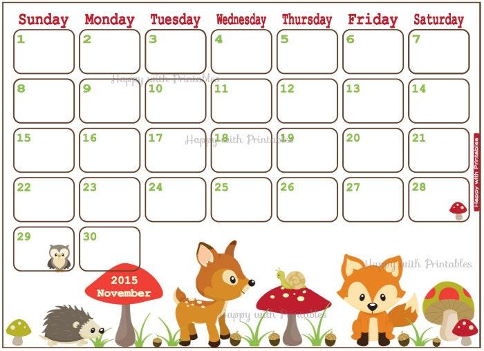 November 2016 Calendar Kids : November kegiatan namira pg tk