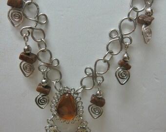 GET 15% OFF Peruvian Amber Color Bead Alpaca Necklace #22