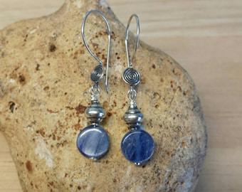Sterling Silver Blue Kyanite earrings. Bali bead earrings. Crystal for chakra cleansing. Reiki for spirit communication. Wire wrap earrings