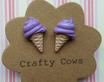 Purple ice cream earrings - kitsch glossy purple ice cream stud earrings summer seaside earrings ice cream cone earrings uk
