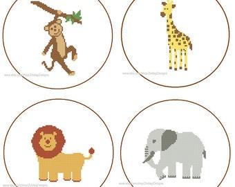 Instant Download set of 4 Cross Stitch Patterns monkey elephant giraffe lion yellow brown gray jungle animals wild nursery gift