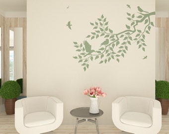Branch And Birds Wall Stencil - Large Stencil For Accent Wall Decor