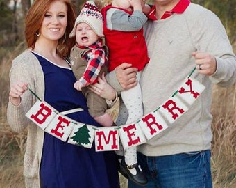 Be Merry decorations - Christmas Photo prop - Mantle Decor - Christmas banner