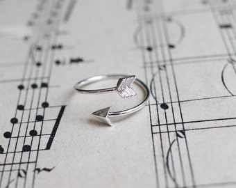 Bow and Arrow ring,  silver plated stackable ring, silver jewellery