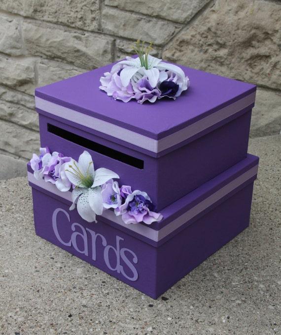 Unique Wedding Card Holders: Custom Wedding Card Box 2 Tier Card Holder Square Purple
