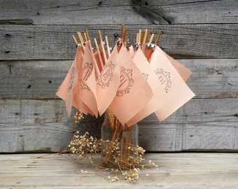 Personalized Peach Fabric Wedding Wands, Rustic Wedding Decor, Wedding Ceremony Flags, Wedding Send Off, Wedding Favors, Peach Wedding