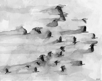 "Canada Geese Painting - Print from my Original Watercolor Painting, ""Flock"", Flying Birds, Black and White Prints, Flying Geese, Bird Prints"