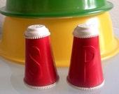 Vintage 1950's Cheerleading Salt and Pepper Shakers Palmer Plastics