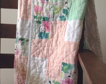Handmade Linen and double gauze quilt, baby quilt, plus sign quilt, cotton quilt, girl quilt