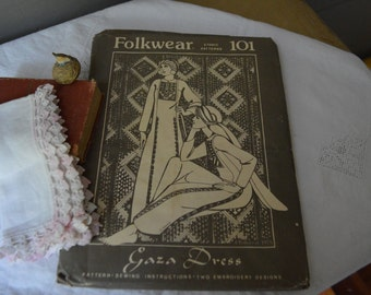 This Beautiful vintage Folkwear Pattern Gaza Dress#101