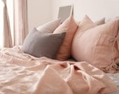 Washed Solid Coral Blush Colored Linen Summer Twin / Queen Size Bedding Set