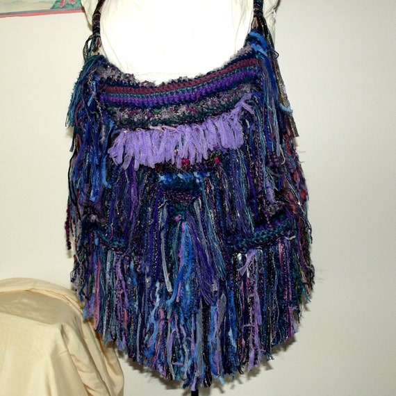 Crochet Fringe Bag : Handmade Crochet Fringe Purse, Blue, Purple, Boho, Snakeskin Shoulder ...