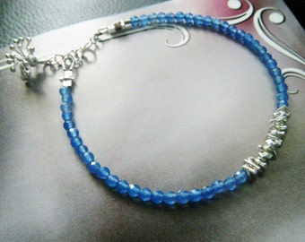 Gemstone onyx bracelet Blue onyx bracelet with Karen Hill sterling silver Dandelion blue onyx jewelry Gemstone jewelry Chakra jewelry
