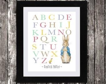 """Peter Rabbit Alphabet Nursery Decor, Beatrix Potter, Beatrix Potter ABC, Peter Rabbit Nursery Art, Peter Rabbit Art,Wall Art, 8 x 10"""""""