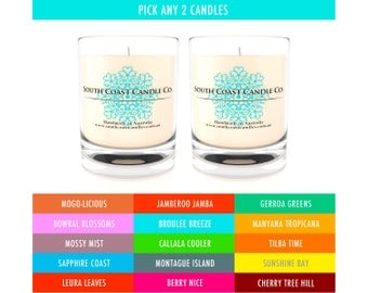 Scented Candles Soy Wax Glass Jar Candles Pick 2 - 15 Scents