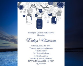 """Bridal Shower Invitation Template """"Rustic Mason Jars"""" Navy Blue and Gray Make Your Own w. Editable Word Instant Download DIY U Print"""