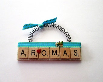 Love Aromas Scrabble Tile Ornament