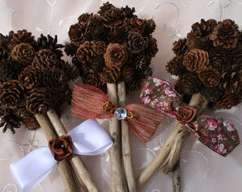 Trio Bridesmaid Pine Cone Bouquets