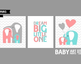 Pale turquoise, Light coral Baby Girl Nursery canvas art, Set of 3 8x10. Dream Big Little One, Elephant ( S810001 )