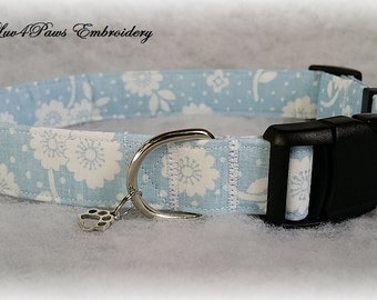 Powder Blue and White Flowers Adjustable Dog Collar
