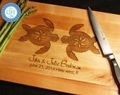 BOOS Personalized Maple Cutting Board Custom Engraved Sea Turtles Love Monogram Beach Ocean Seaside Nautical Theme Wedding Anniversary Gift