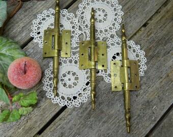 Set of 3 Vintage Brass Mortise Hinges